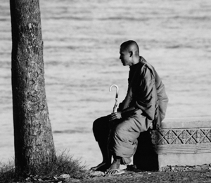 Cambodia - Monk by Mekong